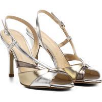 726df7612 Sandália Shoestock Salto Fino Alto Ondas Feminina - Feminino-Prata