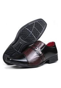Sapato Masculino Topflex Social Preto Bordô