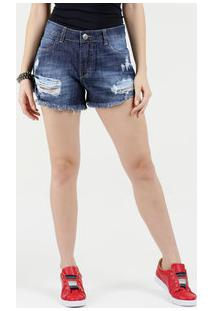 27c6d0bfd Short Feminino Jeans Boyfriend Destroyed Sawary
