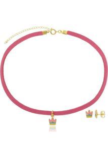 Conjunto Infantil Gargantilha E Brinco Coroa Rainbow Di Capri Semi Jóias X Ouro Dourado