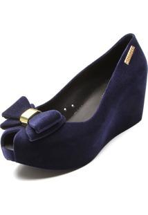 Peep Toe Fiveblu Flocado Laço Azul