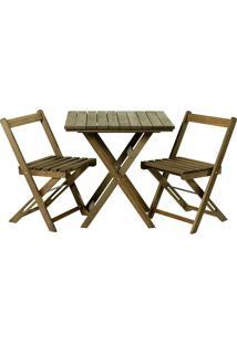 Conjunto De Mesa Com 2 Cadeiras Dobráveis Boteco-Mão E Formão - Nogueira