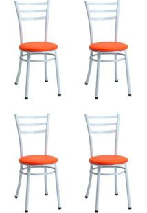 Conjunto 4 Cadeiras 344 Laranja Criativa