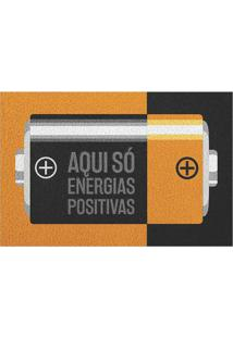 "Capacho ""Energias Positivas""- Bege & Preto- 60X40Cm"