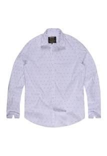 Camisa Khelf Tricoline Estampada Branco