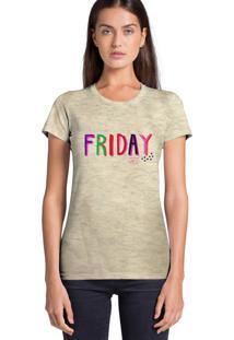 Camiseta Feminina Joss Estampada Flamê Friday Yay Bege