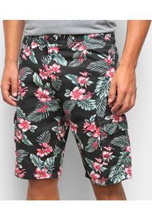 Bermuda Jeans Ecxo Estampa Floral Masculina - Masculino-Preto