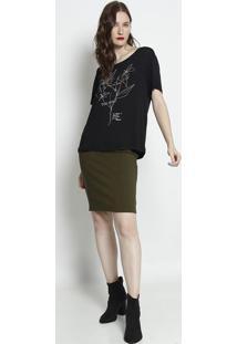 """Camiseta """"Nature In Progress""""- Preta & Dourada- Foruforum"""