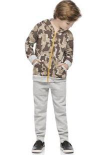Conjunto Jaqueta E Calça Moletom Infantil Quimby Masculino - Masculino-Marrom