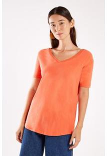Camiseta Malha Básica Stone Sacada Feminina - Feminino-Laranja