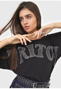Camiseta Triton Aplicaã§Ãµes Preta - Preto - Feminino - Algodã£O - Dafiti
