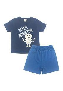 Conjunto Pijama Infantil Masculino Em Meia Malha Monster Marinho/Índigo Multicolorido