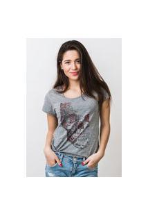 Camiseta Feminina Mirat Rosto De Flores Mescla
