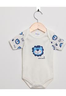 Body Bebê Manga Curta Suedine Off White E Azul Ursinho