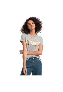 Camiseta Tommy Jeans Em Foil Cinza Tam. P