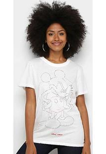 Camiseta Colcci Disney Mickey Feminina - Feminino-Areia