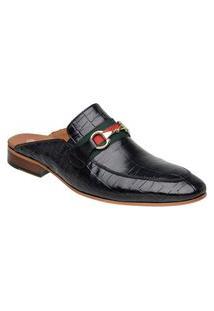 Sapato Masculino Slipper Mule Malbork Couro Croco Preto 5850 Preto