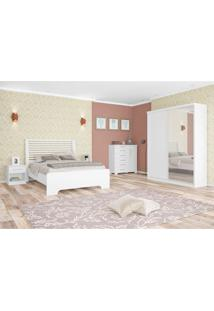 Quarto De Casal Completo Virtual Class Com Espelho Branco 140 Cm