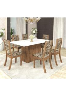Conjunto Sala De Jantar Mesa Em Vidro 6 Cadeiras Drive Espresso Móveis Fendi/Medina