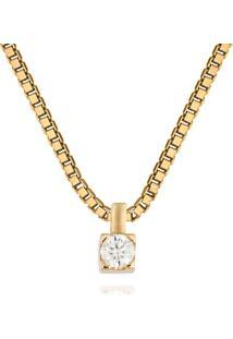 Pingente Solitário Ouro Amarelo E 17,5 Pontos De Diamantes