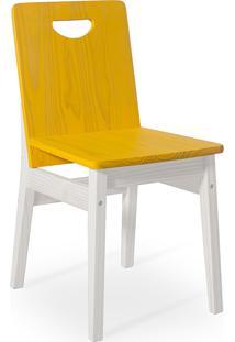Cadeira De Madeira Tucupi 40X51X81Cm - Acabamento Stain Branco E Amarelo
