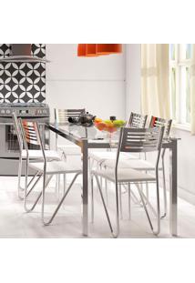 Conjunto De Mesa Reno Com 6 Cadeiras Nápolis Branco