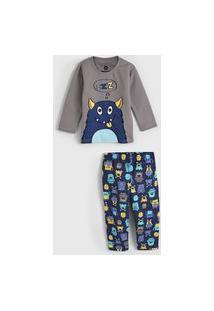Pijama Brandili Longo Infantil Monstrinho Cinza/Azul-Marinho