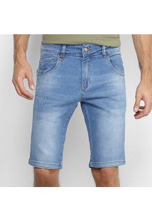 Bermuda Jeans Rock & Soda Estonada Clara Puídos Masculina - Masculino-Azul Claro