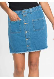 Saia Jeans Com Abotoamento Frontal Azul Médio