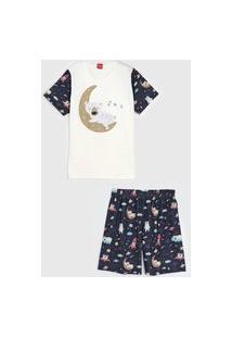 Pijama Tricae Curto Infantil Urso Off-White/Azul-Marinho