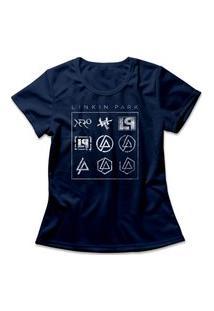 Camiseta Feminina Linkin Park Logos Azul Marinho