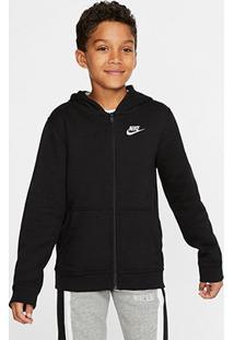 Jaqueta Blusão Infantil Nike Fz Club C/ Capuz Masculina - Masculino-Preto+Branco