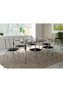 Conjunto De Mesa Com 6 Cadeiras Dora Napa Preto