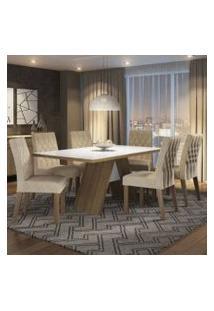 Conjunto Sala De Jantar Madesa Nicole Mesa Tampo De Madeira Com 6 Cadeiras Rustic/Branco/Imperial