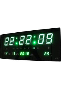 1f4fd57d731 Relogio De Parede Led Verde Digital Alarme Data Termo (Bsl-Rel-58)