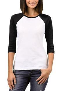 Camiseta Raglan Chess Clothing Feminina - Feminino-Preto+Branco