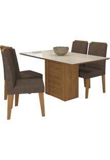 Sala De Jantar Rafaela 130 Cm Com 4 Cadeiras Savana/Off White Cacau
