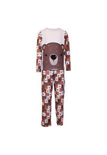 Pijama Menino Manga Longa E Calça Isabb Urso Marrom