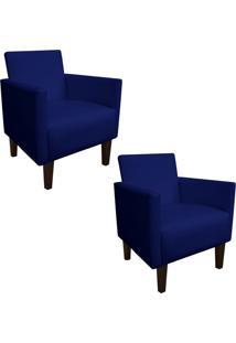 Kit 02 Poltrona Decorativa Compacta Jade Corino Azul Marinho Com Pés Baixo Chanfrado - D'Rossi