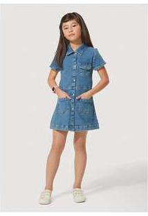 Vestido Jeans Infantil Com Elastano Play Jeans Hering Kids Azul