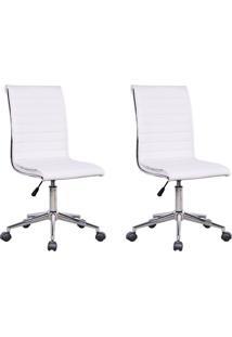 Conjunto Com 2 Cadeiras De Escritório Secretária Giratórias Marilyn Branco