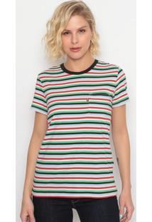 Camiseta Listrada Com Bolso- Branca & Vermelhalevis