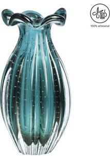 Vaso Texturizado- Incolor & Verde Água- 20Xø10Cmcristais São Marcos