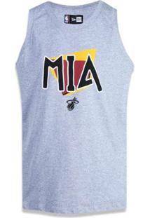Regata Miami Heat Nba New Era Masculina - Masculino-Mescla Claro