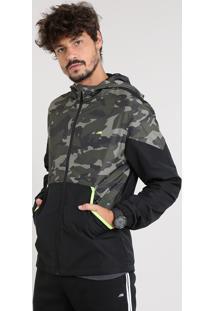 Jaqueta Corta Vento Masculina Esportiva Ace Com Recorte Camuflado E Capuz Preta