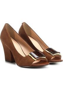 Peep Toe Couro Shoestock Salto Grosso Fivela Acrílico Onça - Feminino
