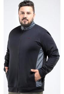 Casaco Moletom Plus Size Basic Preto