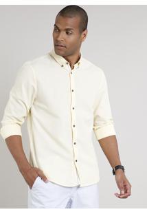 Camisa Masculina Comfort Manga Longa Amarela Claro