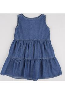 Vestido Jeans Infantil Com Babado Sem Manga Azul Escuro