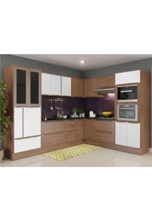Cozinha Completa Multimã³Veis Com 15 Peã§As Calã¡Bria 5461Rmf Nogueira/Branco - Incolor/Marrom - Dafiti